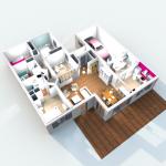 Vue 3D intérieur en vue aérienne 2