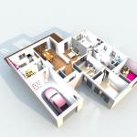 Vue 3D intérieur en vue aérienne 3