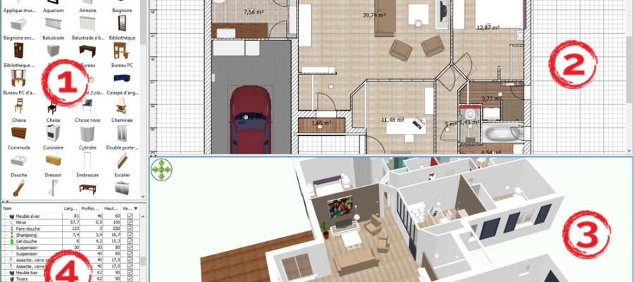 Interface Sweet Home 3D > 1 : Le catalogue de meubles | 2 : Le plan du logement | 3 : La vue 3D | 4 : La liste de tous les meubles