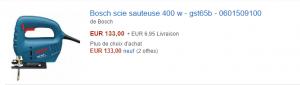 Scie sauteuse BOSCH GST 65 B sur amazon.fr à 133 €