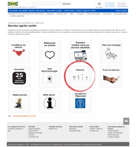 Page internet IKEA service apres-vente