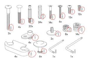 Références des vis et pièces détachées d'un meuble IKEA