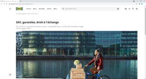 Site IKEA : page SAV, garanties, droit à l'échange