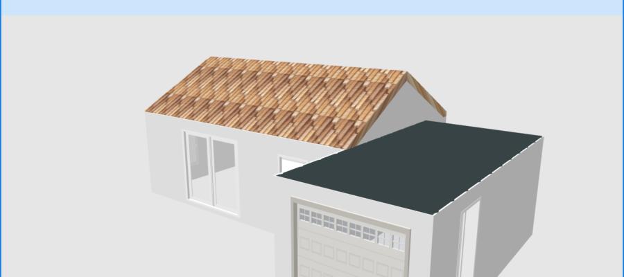 Vue 3D de la maison au toit plat