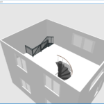 Vue-aérienne 3D des escaliers (quart tournant et à colimaçon)