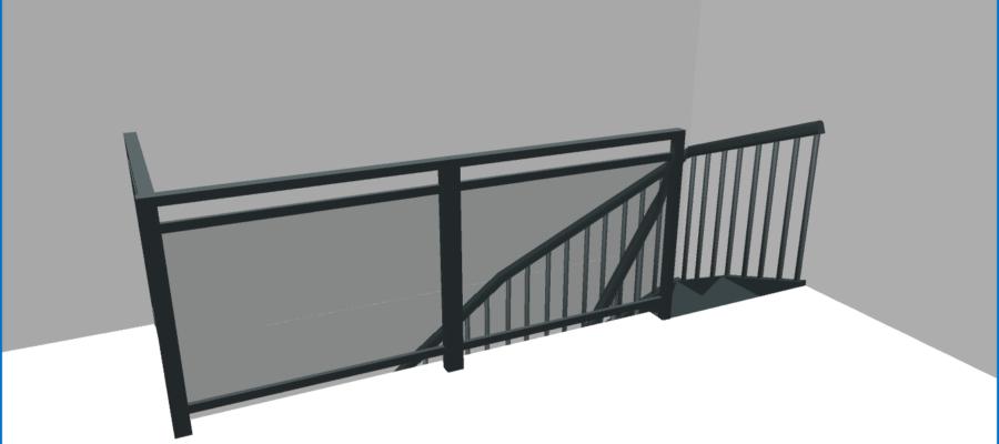 Vue virtuelle 3D de l'escalier tournant de l'étage