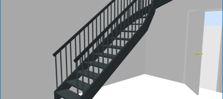Vue virtuelle 3D de l'escalier tournant du rez-de-chaussée