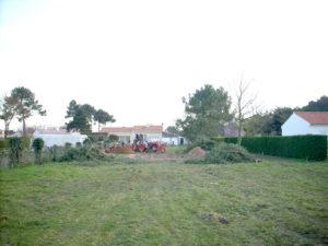 Démontage des arbres avant la construction