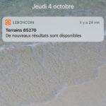 Alertes d'annonces de terrains sur smartphone
