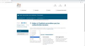 Aides locales par département sur le site de l'ANIL