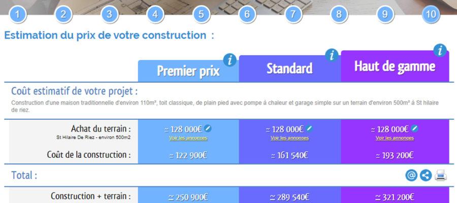 Simulateur pour calculer le coût de la construction